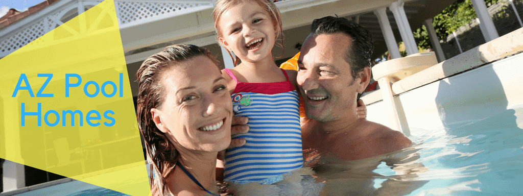 Mom, Dad, and baby girl in the pool. This image represents our pool homes for sale in AZ.