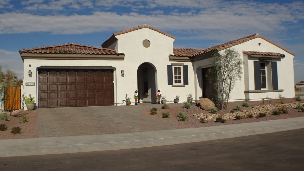 single family white stucco home