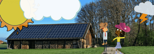 barn with solar panels and two cartoon people standing outside