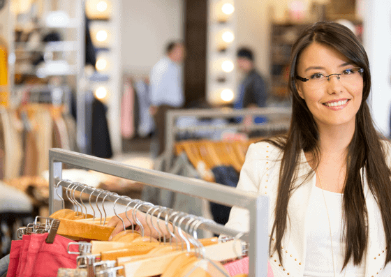 Young woman shoping in anchor shops in Anchor Shops in Town and Country