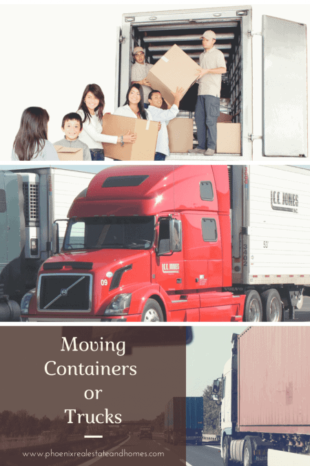 Moving Containers vs Trucks? Family Packing Up to Fill up a Container Van, Red Truck for Moving