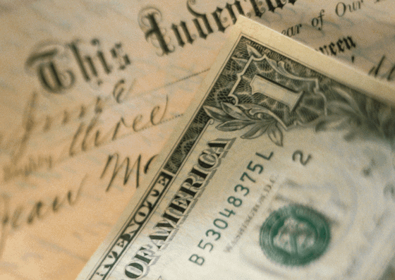 US Currency and Contract for Home equity